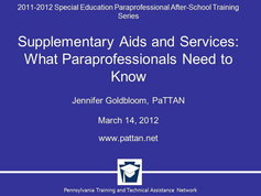 Supplementary Aids and Services: What Paraprofessionals Need to Know