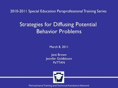 Strategies for Diffusing Potential Behavior Problems