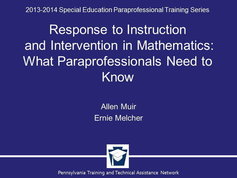 Response to Instruction and Intervention: What Paraprofessionals Need to Know