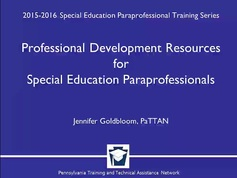 Professional Development Resources for Special Education Paraprofessionals