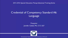 Credential of Competency Standard #6: Language