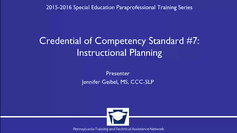 Credential of Competency Standard #7: Instructional Planning