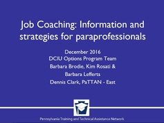 Job Coaching: Information and Strategies for Paraprofessionals